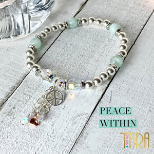 Peace Within | Angelite Jewelry | Peace Bracelet | Inspirational Swarovski Jewelry | Christmas Gift for Her