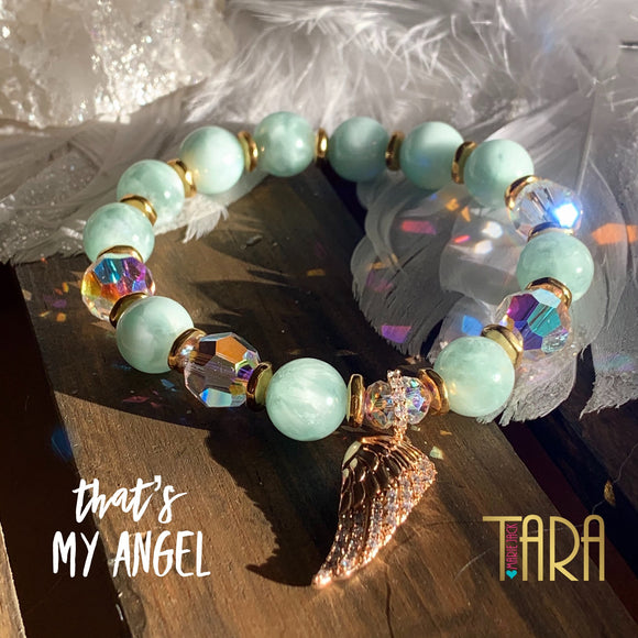 That's My Angel | Green Angelite Bracelet | Guardian Angel Jewelry | Christmas Gift for Her | Inspirational Swarovski Jewelry