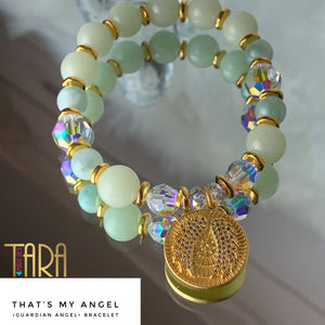 That's My Angel | Green Aragonite Gold Bracelet | Guardian Angel Jewelry | Christmas Gift for Her | Inspirational Swarovski Jewelry