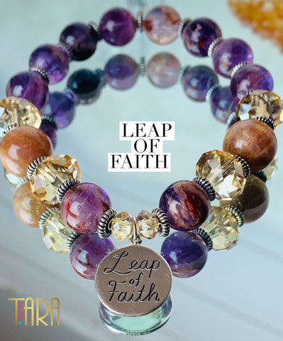 Leap of Faith | Inspirational Swarovski Jewelry | Auralite & Moonstone Bracelet | Valentine's Day Gift for Her