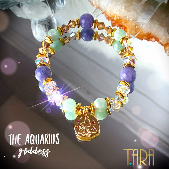 Zodiac Expressions | The Companion Crystal | Aquarius Goddess Bracelet ~ Inspirational Swarovski Crystal  & Gemstone Jewelry