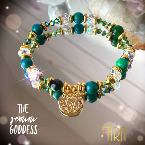 Zodiac Expressions | The Companion Crystal | Gemini Goddess Bracelet ~ Inspirational Swarovski Crystal  & Gemstone Jewelry