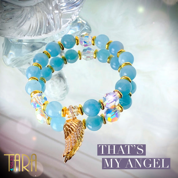 That's My Angel | Guardian Angel Bracelet | Aquamarine Bracelet | Inspirational Jewelry | Swarovski Bracelet