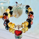 Love Goddess | Inspirational Swarovski Jewelry | Garnet & Citrine Bracelet | Valentines Day Gift for Her
