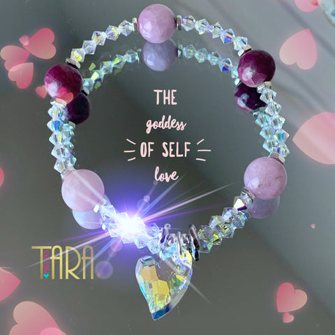 The Goddess of Self Love | Kunzite & Pink Tourmaline Bracelet | Inspirational Swarovski Jewelry | Valentines Day Gift for Her