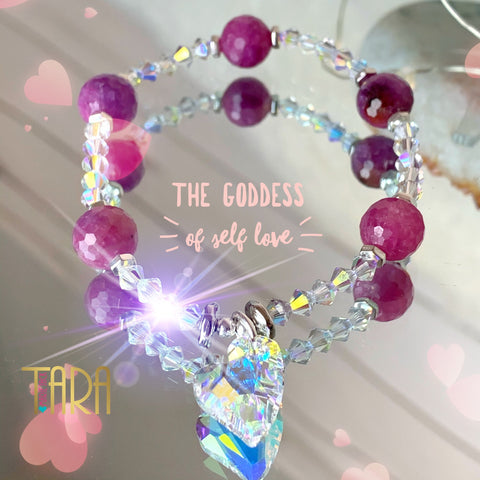 The Goddess of Self Love | Ruby Bracelet | Inspirational Swarovski Jewelry | Valentines Day Gift for Her