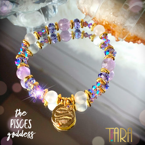 Zodiac Expressions | The Companion Crystal | Pisces Goddess Bracelet ~ Inspirational Swarovski Crystal  & Gemstone Jewelry