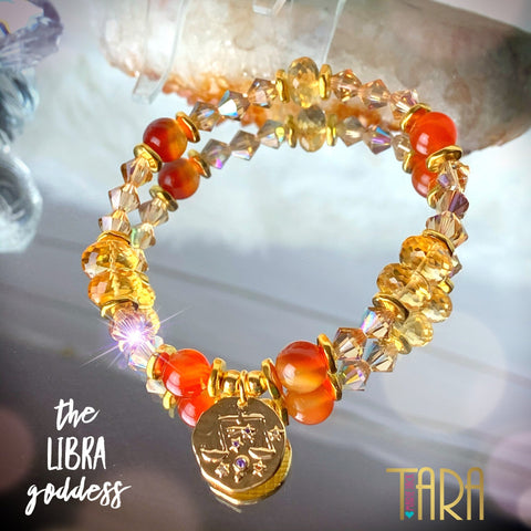 Zodiac Expressions | The Companion Crystal | Libra Goddess Bracelet ~ Inspirational Swarovski Crystal  & Gemstone Jewelry