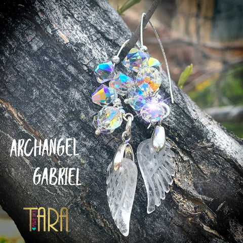 Archangel Gabriel | Carved Quartz Angel Earrings | Inspirational Swarovski Earrings