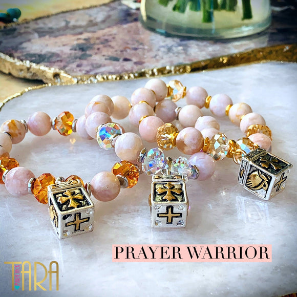 The Prayer Warrior | Cherry Blossom Agate Bracelet | Inspirational Swarovski Jewelry