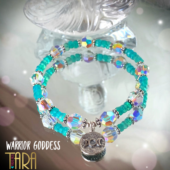 Warrior Goddess Ethiopian Blue Opal Bracelet | Inspirational Swarovski Jewelry | Gift For Her
