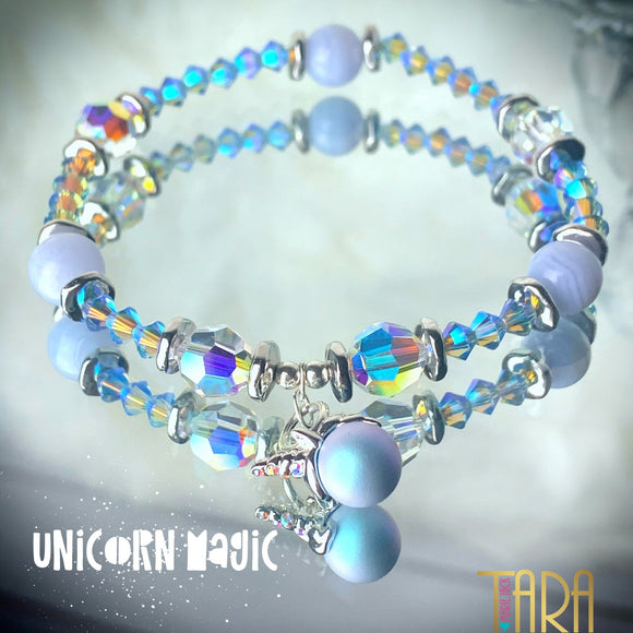 Unicorn Magic | Blue Lace Agate | Swarovski Crystal Bracelet | Healing Bracelet | Inspirational Jewelry