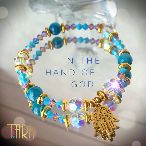 In The Hand Of God | Apatite Bracelet | Hamsa Bracelet | Swarovski Bracelet | Inspirational Jewelry