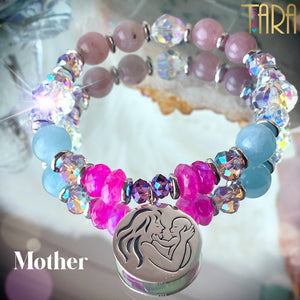 Mother | Moonstone Aquamarine Rose Quartz Bracelet | Inspirational Swarovski Jewelry | Mother's Day Gift