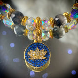 Enlightened | Rare Brookite & Lapis Lazuli Bracelet | Inspirational Swarovski Jewelry | Lotus Jewelry | Birthday Gift for Her