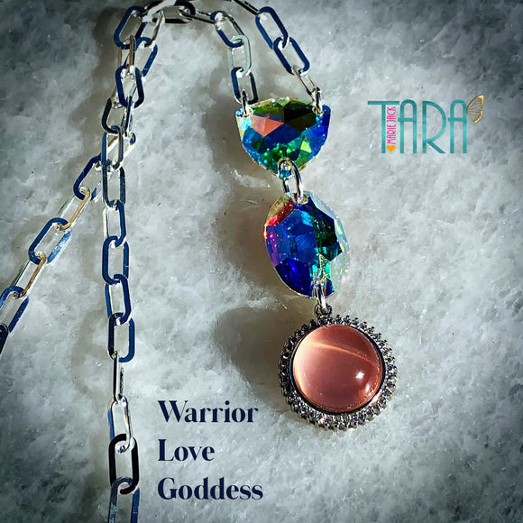 Warrior Love Goddess | Star Rose Quartz Necklace | Inspirational Swarovski Jewelry | Birthday Gift for Here