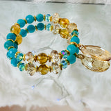 The Trusted Soul | Amazonite & Citrine Bracelet | Inspirational Swarovski Jewelry | Buddha Bracelet