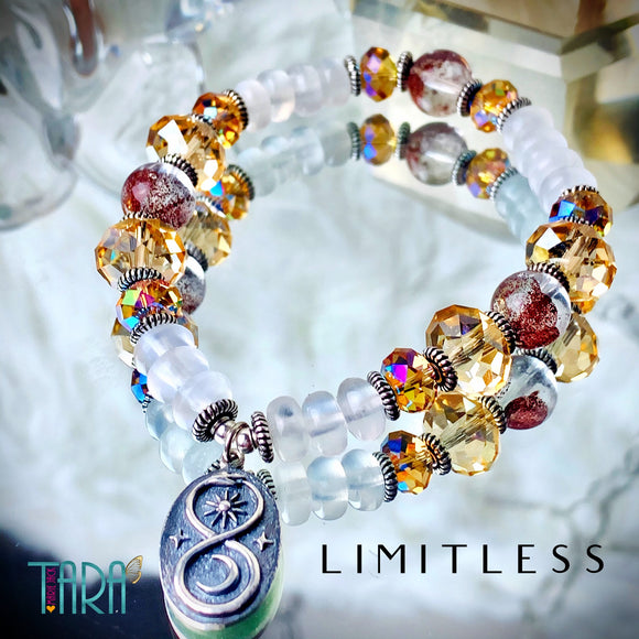 Limitless | RARE Phantom Quartz & Selenite Bracelet | infinity Jewelry | Inspirational Swarovski Jewelry | Anniversary Gift for Her