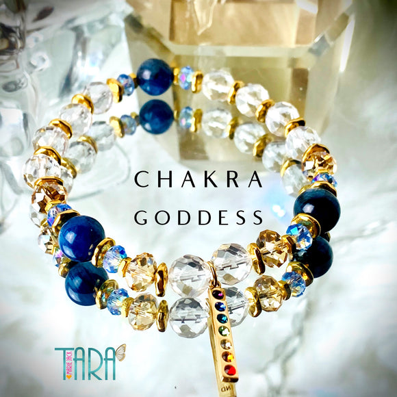 Chakra Goddess | Kyanite & Crystal Quartz bracelet | Inspirational Swarovski Jewelry | Birthday Gift for Her