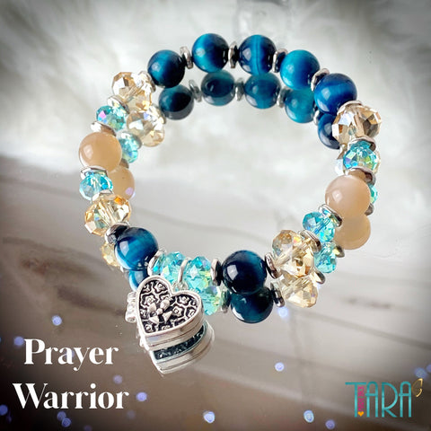 The Prayer Warrior | Blue Tiger's Eye & Moonstone Bracelet | Inspirational Swarovski Jewelry | Christmas gift for Her