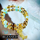 Blessed | Green Angelite & Smokey Quartz Bracelet | Inspirational Swarovski Jewelry | Christmas Gift for Her