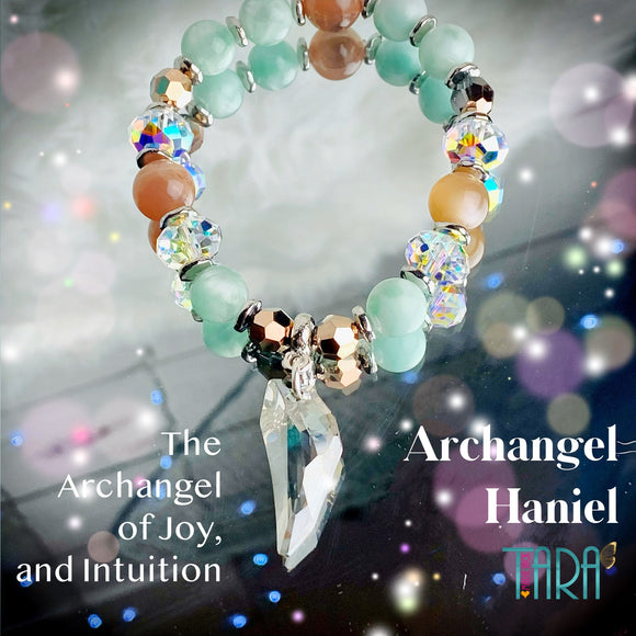 Archangel Haniel | Angelite & Moonstone Bracelet | Inspirational Swarovski Crystal Jewelry | Christmas Gift for Her