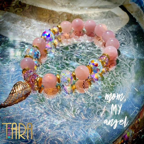 Mom, My Angel Bracelet | Rose Quartz Bracelet | Inspirational Swarovski Jewelry | Mother's Day Gift