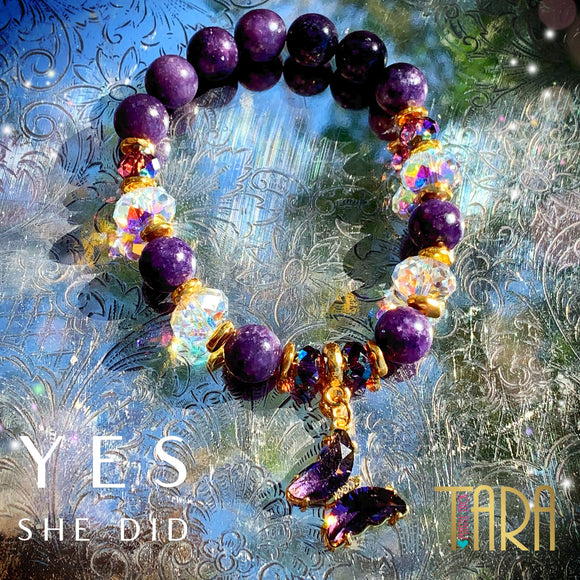 Yes She Did | Butterfly Bracelet | Lepidolite  Bracelet | Inspirational Swarovski Jewelry | Gift for Her