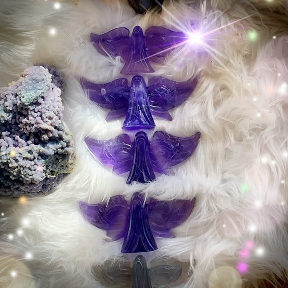 Purple & Rainbow Fluorite Carved Angel | Crystal Angel
