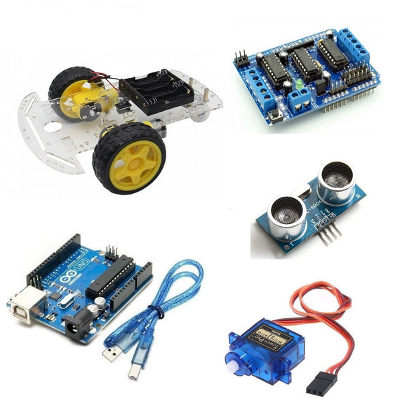 2Wd Kit with L293D Shield, Ultrasonic Sensor, Servo Motor, Ultrasonic Bracket, Arduino Uno with Cable