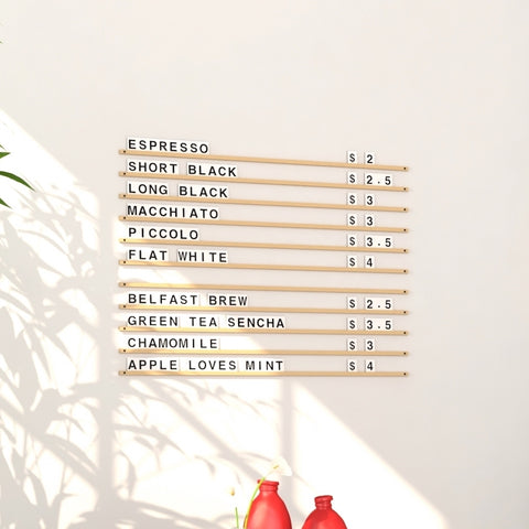 Wooden Wall Menu Board