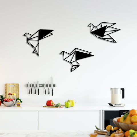 Geometric Metal Black Birds Wall Decor