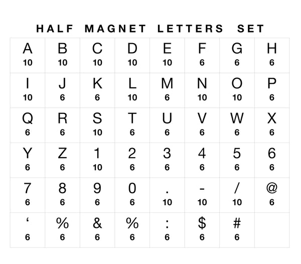 Only Magnet Letters Set - Extra Half Set of Magnets