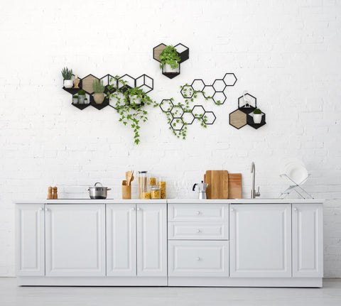 Oversized Metal Wall Decoration Set with Planter Shelves - 5 pieces