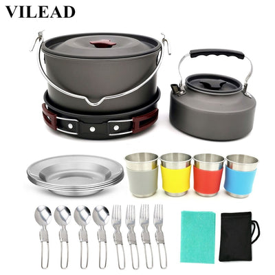 19pcs Portable Camping Cookware Set - Colorado Outfitters