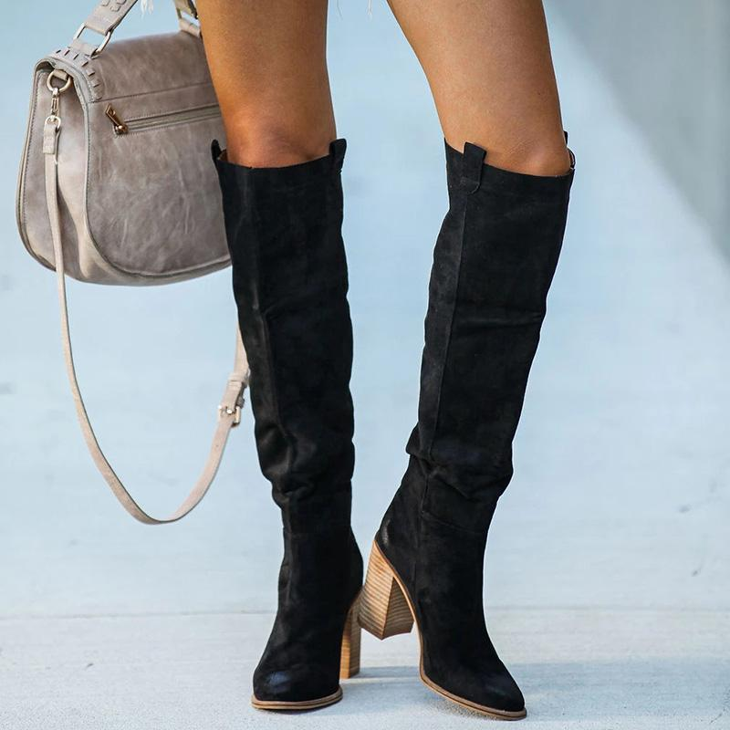 F/W Thigh-high Chunky High Heel Boots