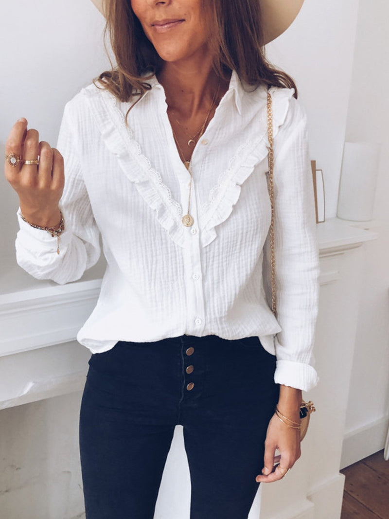 Fashion Lapel Lace Long Sleeve Shirt