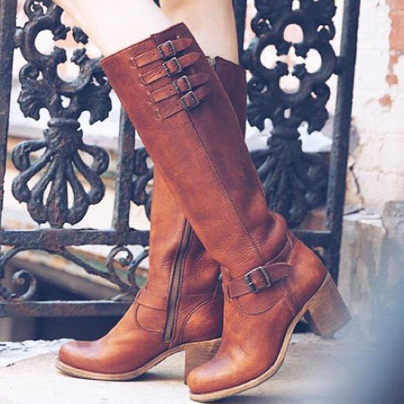 Brown Side Zipper Chunky High Heel Boots