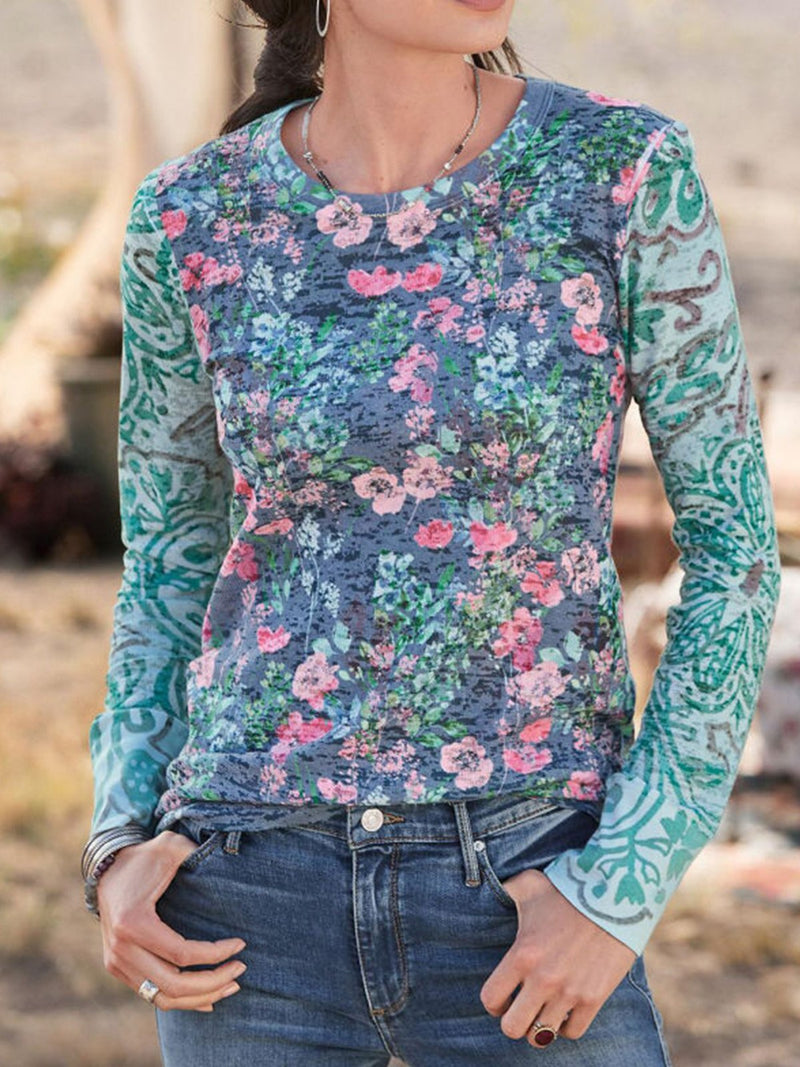Blue Top with Floral Print