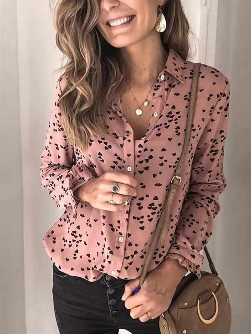 Pink Chiffon Heart Shape Print Long Sleeved Shirt