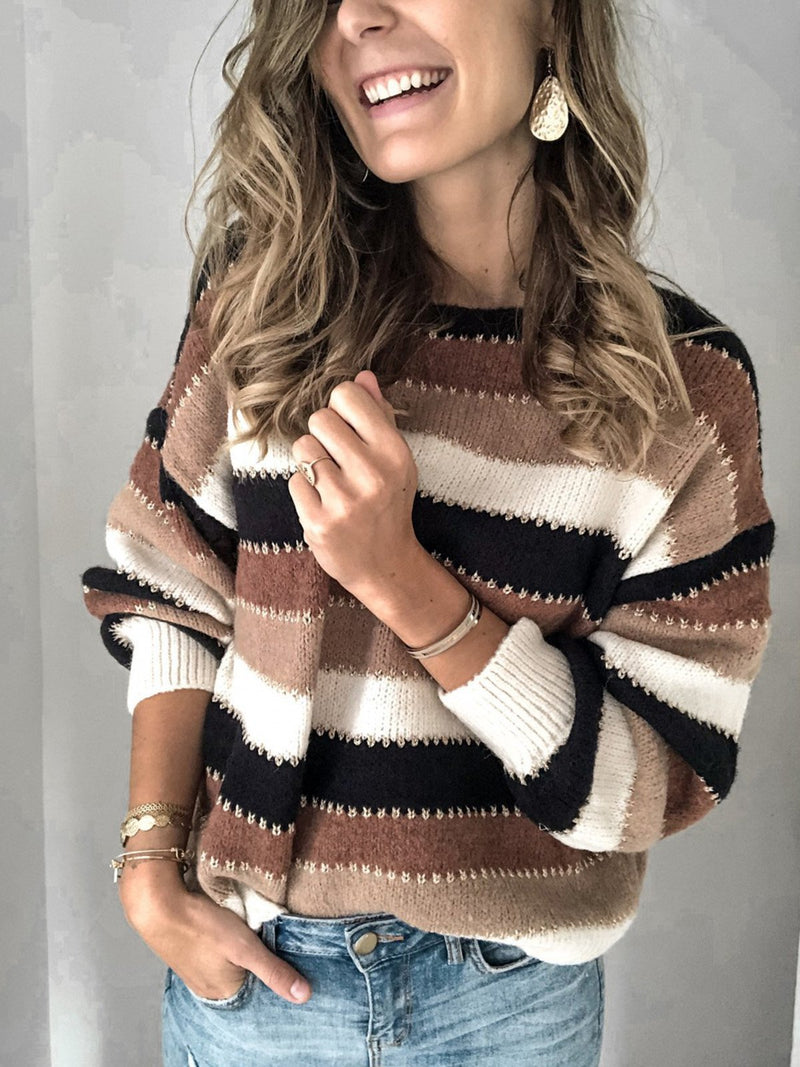 Long Sleeve Striped Stitching Sweater