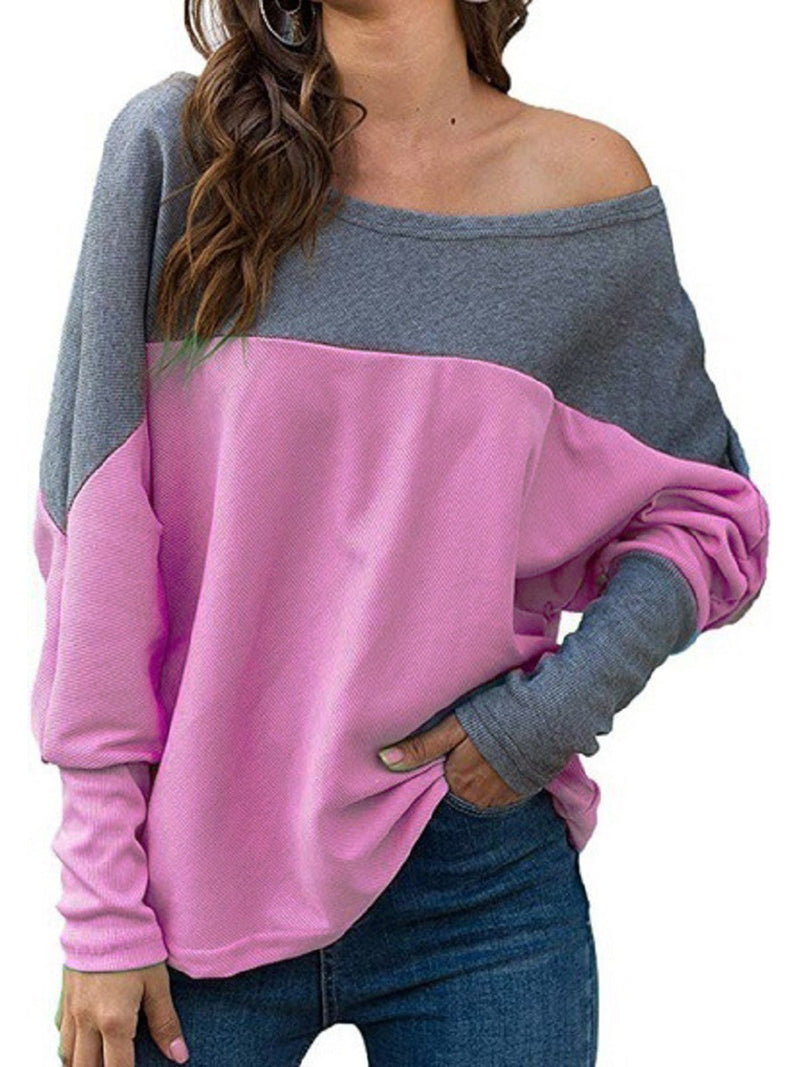 Color Matching Round Neck Long Sleeve Bat Sleeve