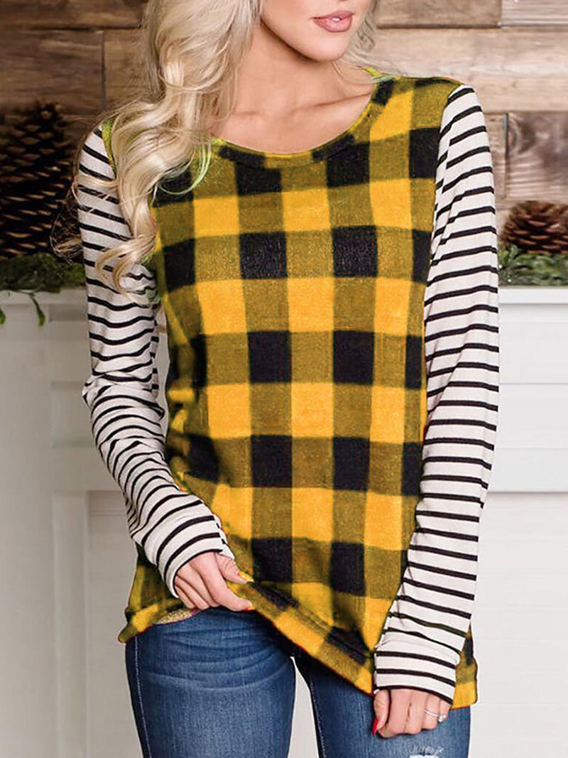 Striped Plaid Top with Long Sleeves