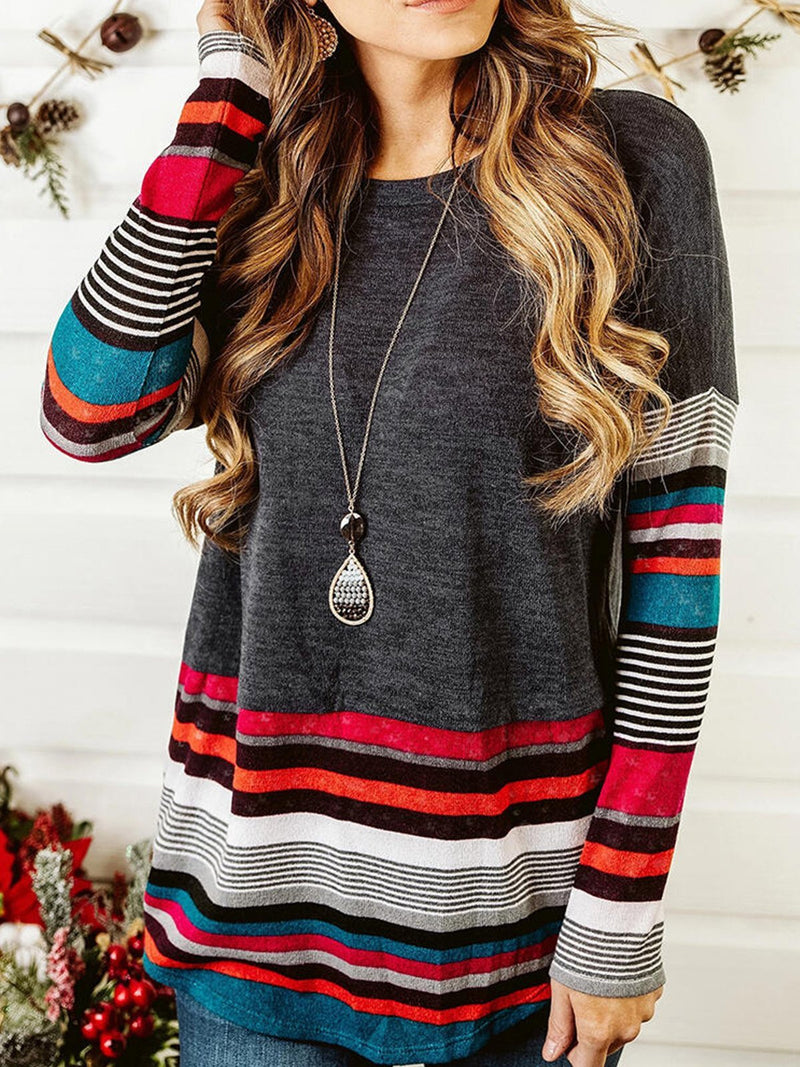 Long Sleeved Striped T-shirt with Round Neck