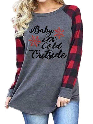 Letter Print Plaid Long Sleeve T-Shirt