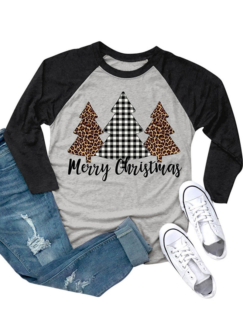 Three Christmas Trees & Letter Prints Round Neck T-Shirt