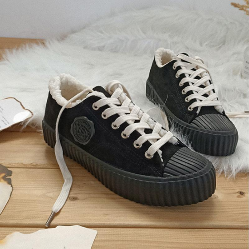 Winter Solid Rubber Round Toes Low-ankle Sneakers