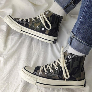 Vintage Camouflage Ankle Canvas Sneakers