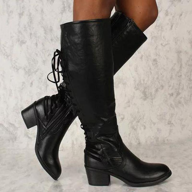 Knee High Solid Back Lace-up Boots