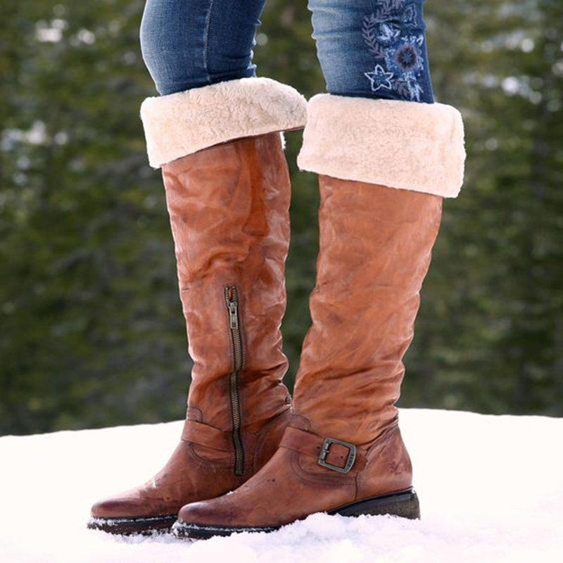 Women's Vintage Zipper Knee-high Boots